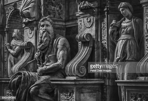 Statues of Moses, Rachel and Leah on the tomb of Pope Julius II. by Michelangelo