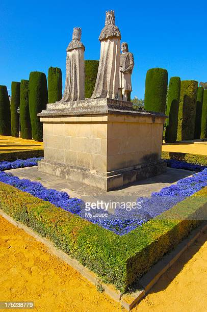 Statues of Queen Isabel King Fernando and Christopher Columbus in the gardens of the Alcazar of Catholic Kings Cordoba Andalusia Spain