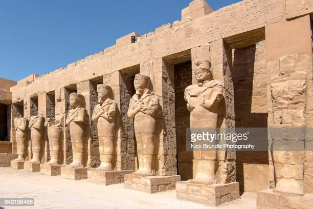 statues of ramses ii, karnak temple, luxor, egypt - tomb stock pictures, royalty-free photos & images