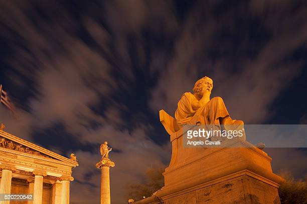 Statues of Socrates outside Academy of Athens