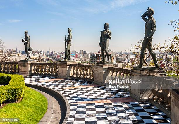 Statues of the boy heroes located at the top of Chapultepec Castle Mexico City