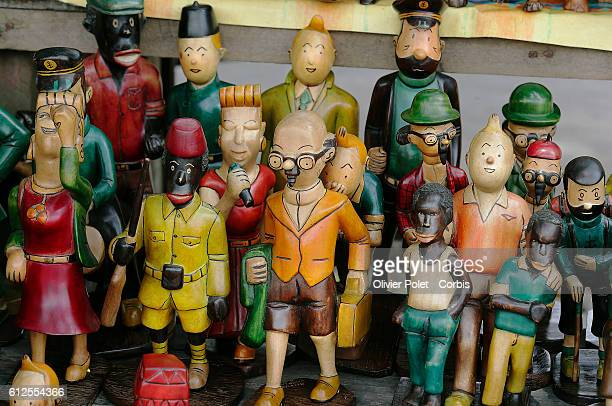 Statues of the characters from the comic strip Tintin for sale in front of Hotel Memling in Kinshasa's city center