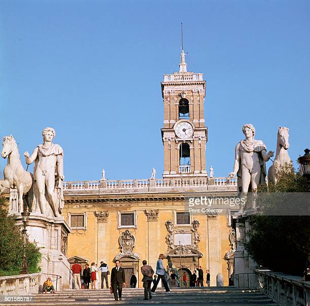Statues of the Dioscuri at the top of Michelangelo's steps on the Capitoline hill in Rome 16th century