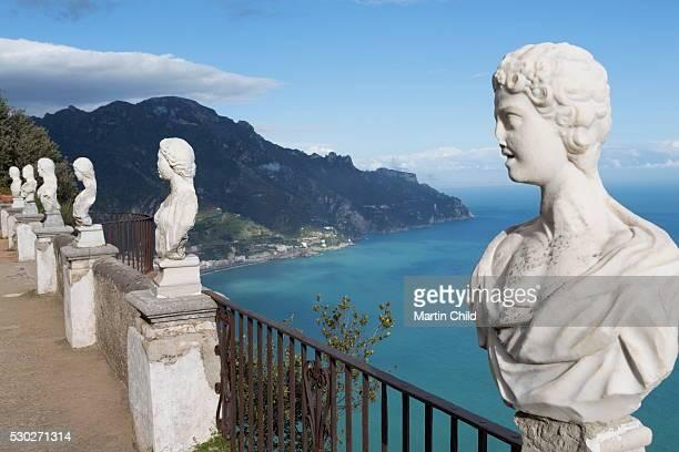 Statues on Belvedere of Infinity at the Villa Cimbrone in Ravello, Amalfi Coast (Costiera Amalfitana), UNESCO World Heritage Site, Campania, Italy, Mediterranean, Europe