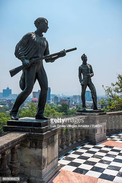 Statues On Retaining Wall At Chapultepec Castle