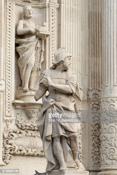 Statues on the balustrade and facade of St Sebastian cathedral Acireale Sicily Italy 17th18th century