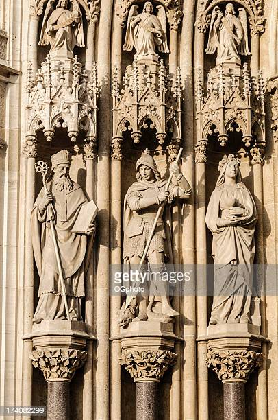 statues on the facade of zagreb cathedral, croatia - ogphoto stock photos and pictures