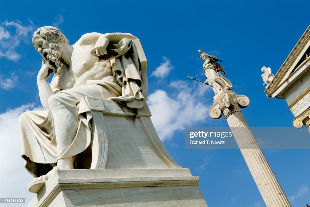 Statues Outside Academy of Athens : Stock Photo