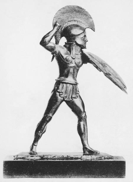 A statuette of an ancient Greek hoplite or heavy foot...
