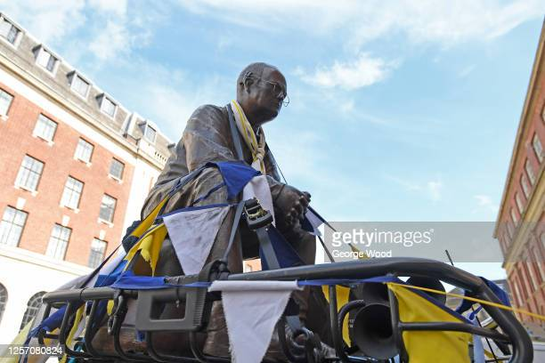 Stature of Marcelo Bielsa, manager of Leeds United is seen in Leeds city centre as Leeds United fans celebrate after winning the Sky Bet Championship...
