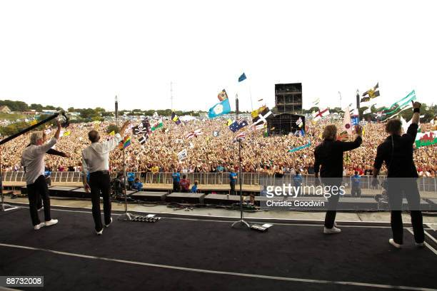 Status Quo greeting the crowd after their performance on the Pyramid stage on the last day of Glastonbury Festival at Worthy Farm on June 28 2009 in...