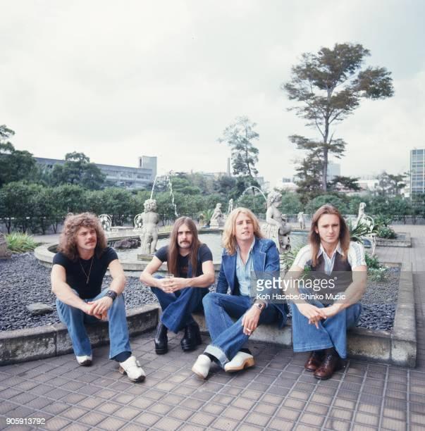 Status Quo in a park September 1975 Tokyo Japan Francis Rossi Rick Parfitt Alan Lancaster John Coghlan