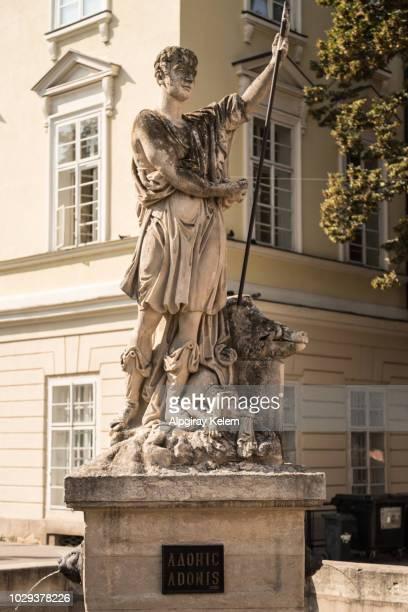 Staute of Adonis in Liviv, Ukraine
