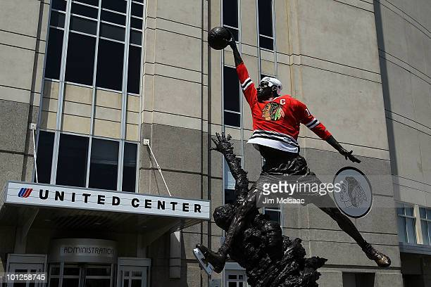 Staute of former Chicago Bull Michael Jordan stands outside of the United Center dressed in a Blackhawks uniform before Game One of the 2010 NHL...