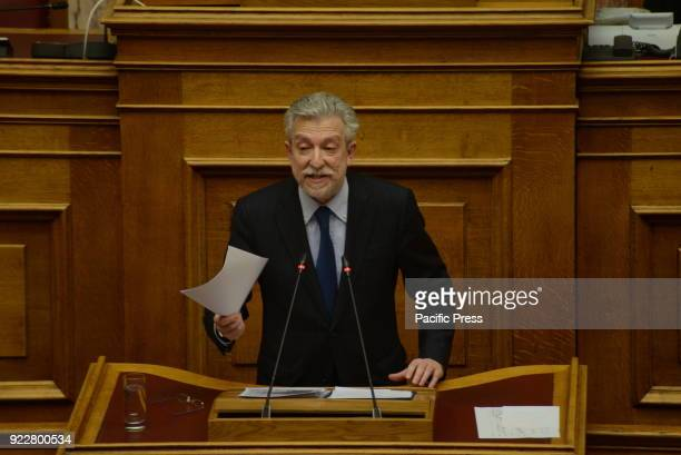 PARLIAMENT ATHENS ATTIKI GREECE Stavros Kontonis Greek Minister of Justice during his speech in Hellenic Parliament for Novartis