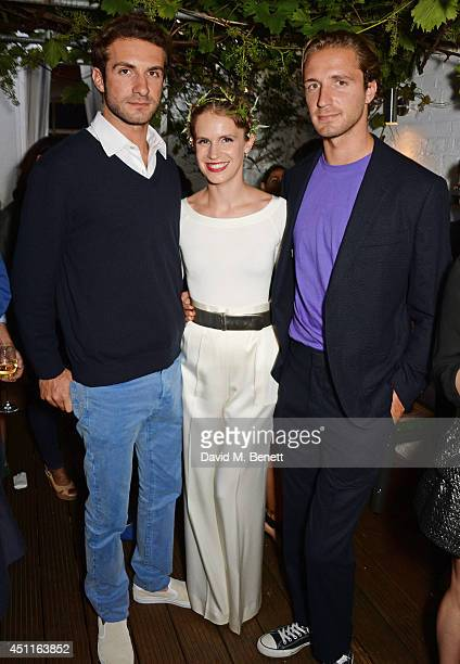 Stavros Niarchos Eugenie Niarchos and Theodorakis Niarchos attend Mazi's Summer Party with guest of honor Eugenie Niarchos Venyx World on June 24...