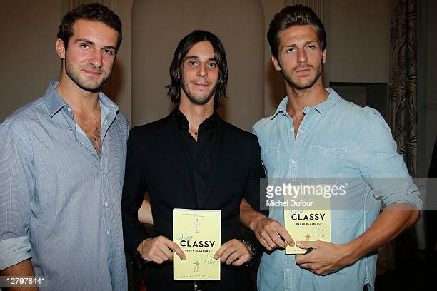 Stavros Niarchos III Vladimir Roitfeld and JT Besins attend the Derek Blasberg 'Very Classy' Book Signing hosted by Moda Operandi on October 3 2011...