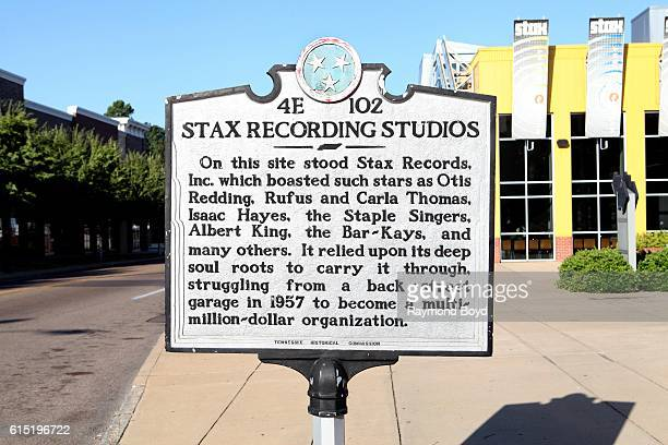 Stax Recording Studios historical marker outside the Stax Museum of American Soul Music in Memphis Tennessee on October 3 2016