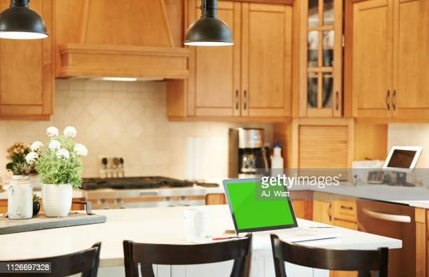 stay connected, stay productive from home - kitchen background stock pictures, royalty-free photos & images