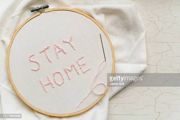 stay home embroidery - embroidery stock pictures, royalty-free photos & images