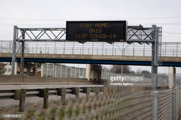 Stay home Ohio stop COVID19❠sign is seen in Dayton Ohio on March 24 2020 amidst the Coronavirus Pandemic On March 23 2020 the state declared a stay...