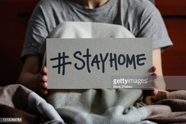 stay home! - stay at home order stock pictures, royalty-free photos & images