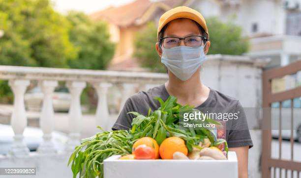 stay home! we deliver! - vegetarian food stock pictures, royalty-free photos & images