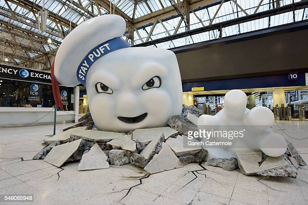 Stay Puft Marshmallow Man is seen on the concourse at Waterloo Station on July 11, 2016 in London, England. Ghostbusters take over Waterloo Station...