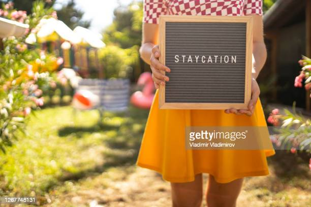 staycation concept - slogan stock pictures, royalty-free photos & images