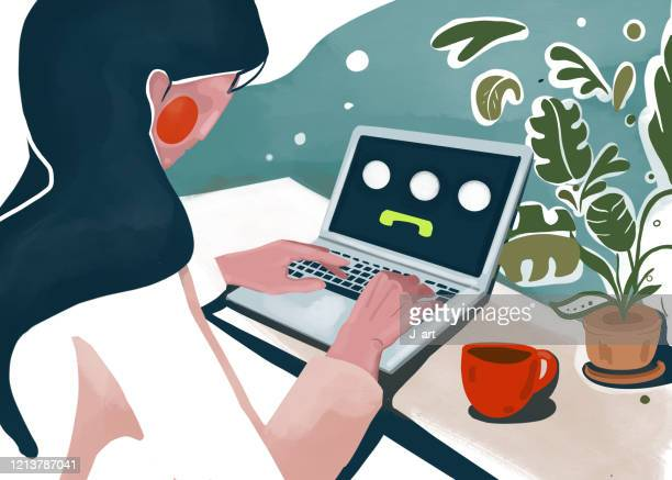 staying home. young woman working at home. - illustrazione foto e immagini stock