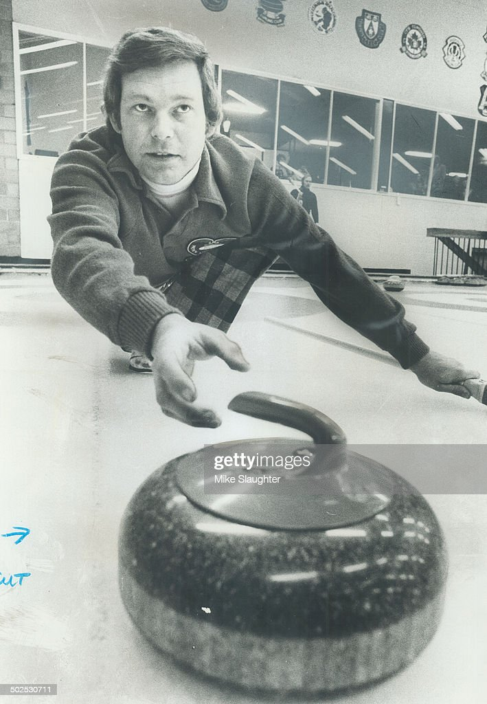 Skip Ron Green; defending Canada Life champion; carefully guides a shot during play in annual bonspiel. Green; who usually plays second for Paul Savage; in major Ontario competition; beat Brian Lawrie of Unionville.