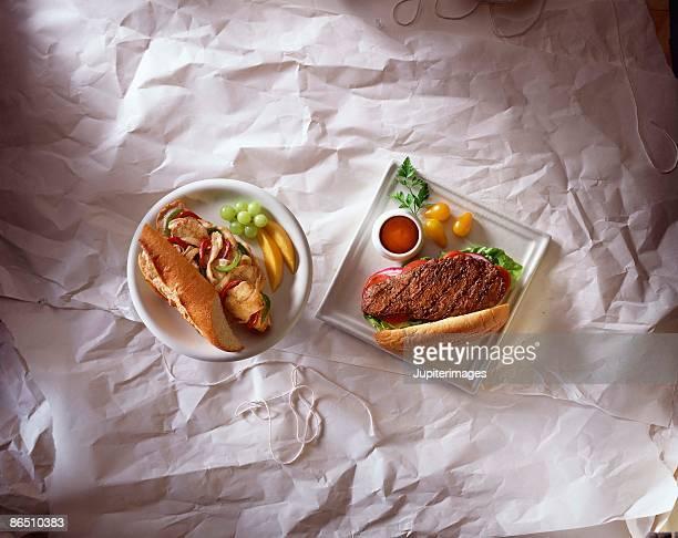 Steak and chicken sandwich