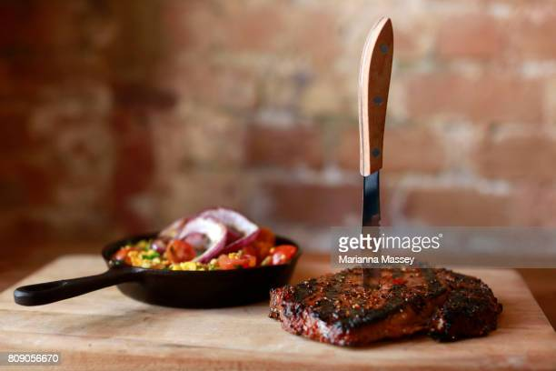 Steak and grilled vegetables