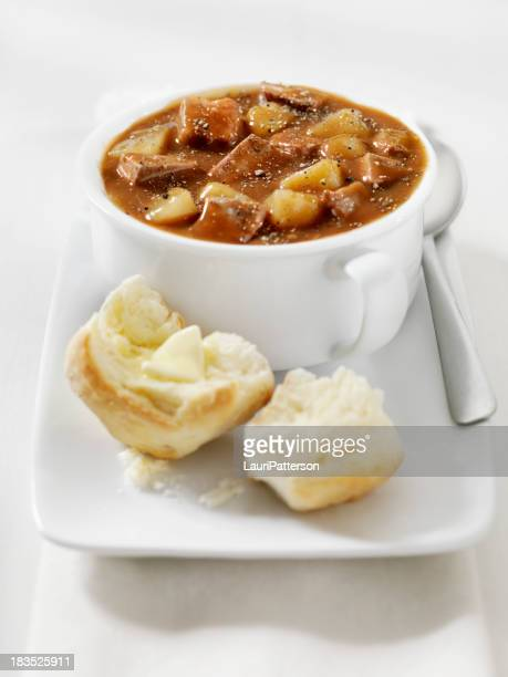 Steak and Potato Stew with Freshly Baked Biscuits