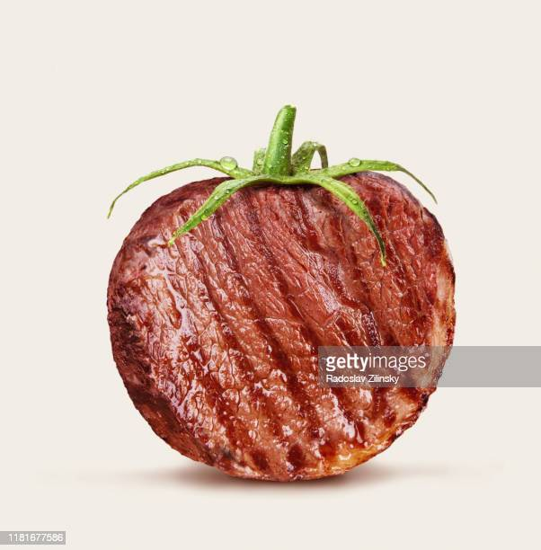steak as a tomato - burger stock pictures, royalty-free photos & images