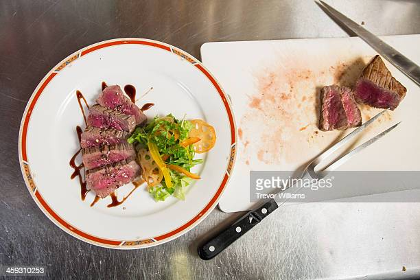 Steak dinner plate in the restaurant kitchen