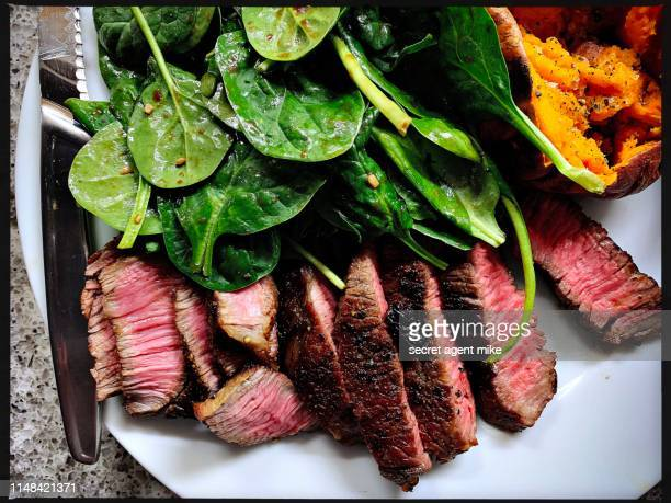 steak dinner w salad - red meat stock pictures, royalty-free photos & images