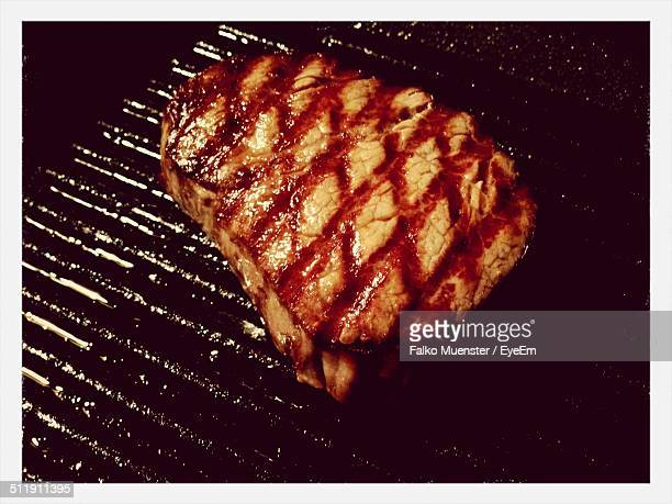 Steak in grilled pan