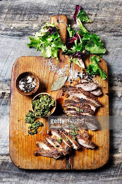 Steak on a cutting board