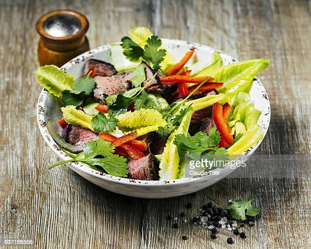 steak salad - salad bowl stock pictures, royalty-free photos & images