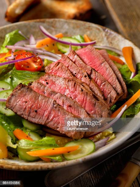 steak salad - salad stock pictures, royalty-free photos & images