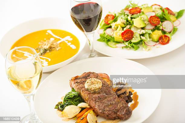 steak soup and salad - three objects stock pictures, royalty-free photos & images