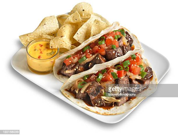 Steak Taco with chips, Isolated