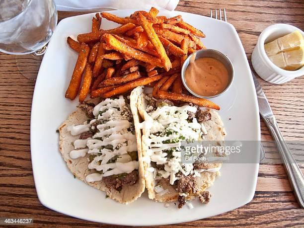 Steak tacos and sweet potato fries