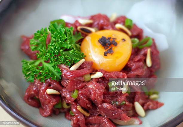 Steak tartare, minced raw beef spanish tapas with