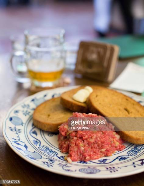 steak tartare - lauryn ishak stock pictures, royalty-free photos & images