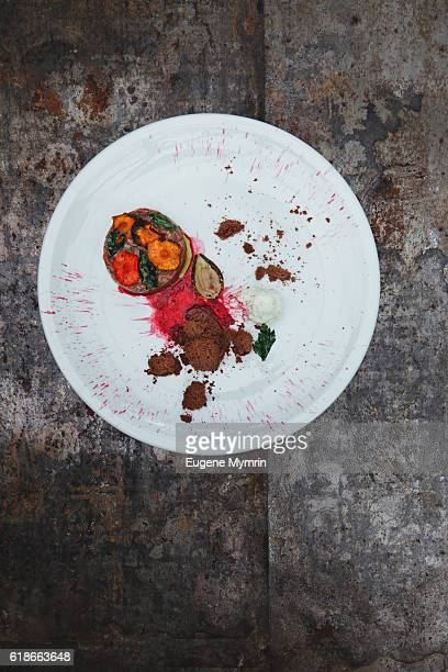 Steak tartare with vegetables and beetroot sauce
