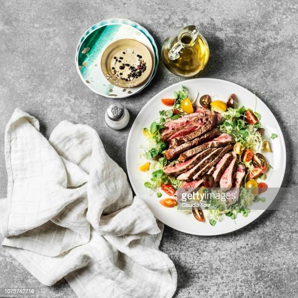 steak with fresh salad - dish towel stock pictures, royalty-free photos & images