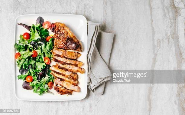 Steak with fresh salad