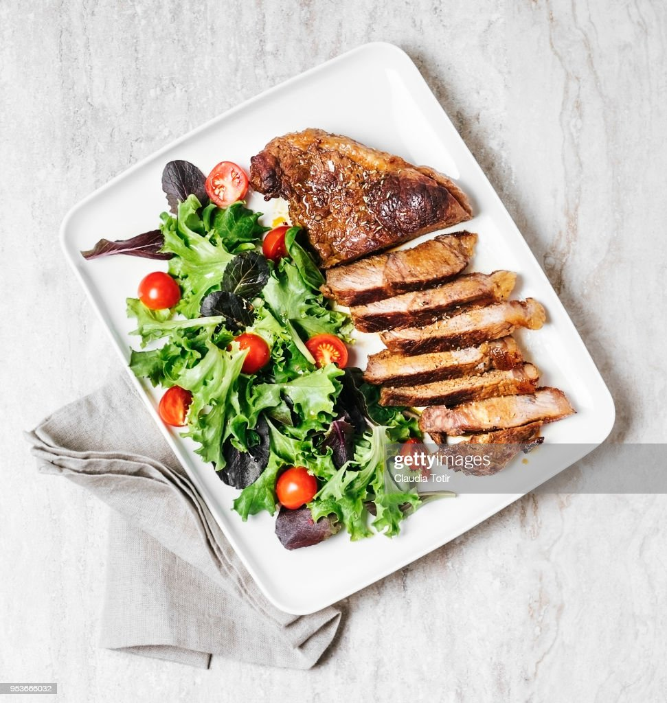 Steak with fresh salad : Stock Photo